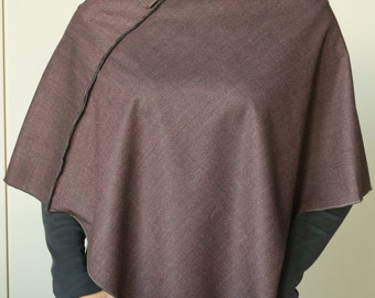 Worsted wool burgundy cape