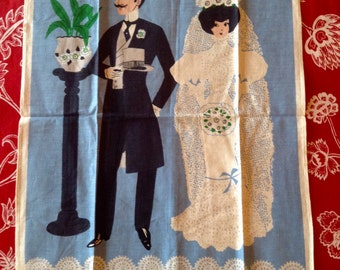 NOS Victorian Wedding Bride and Groom Tea Towel- white wedding, shower gift, something blue