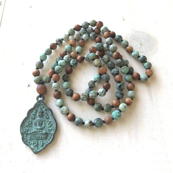 Mala For Positive Change, African Turquoise Mala Necklace, Sandalwood Mala Beads, Mala For Peace and Calm, Hand Knotted 108 Bead Mala
