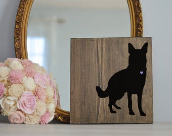 Hand Painted German Shepherd Silhouette on Stained Wood, Dog Decor, Dog Painting, Gift for Dog People, New Puppy Gift, Housewarming Gift