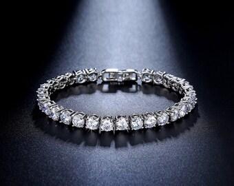 Bridal Bracelet - Tennis Bracelet - Wedding Bracelet - CZ Bracelet - Cubic Zirconia Bracelet - Bridal Jewelry - Wedding Accessories - AB0021