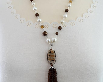 Pearl Necklace, Long Pearl Necklace, Long Ivory Pearl Necklace, Flapper Necklace, Multi Strand Pearl Necklace, Cream Pearl Necklace