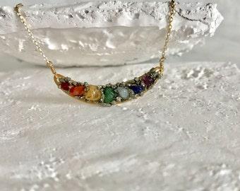 Gold Chakra Necklace, Crescent Moon Chakra Necklace, Bohemian Raw Stone Necklace, Raw Crystal Necklace, Yoga Jewelry, Boho Chic ,Healing