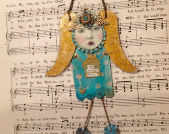 house warming  angel on metal -  assemblage angel - nursery decor - house warming gift - home decor - metal home decor - Floras Adoras angel