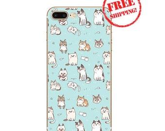 iPhone 7 CAT case, iPhone 7 BLUE case, iPhone 7 CAT case, iPhone 7 cat iPhone 7 cover, iPhone 7 meow, iPhone 7 plus case, iPhone 7