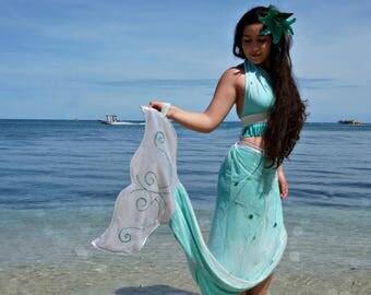 Mermaid Tail Costume Dress Skirt Halter Top  Hair Piece Flower HANDMADE Any Color Women's Children Girls Cosplay