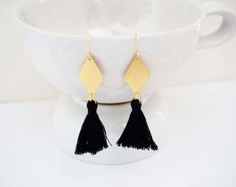 Gold Geometric Tassel Earrings