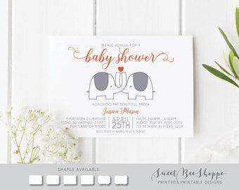 Elephant Theme Baby Shower Invite: Gender Neutral Elephant Baby Shower Invite, Gender Neutral Baby Shower Invitation; Grey, Orange, Hearts