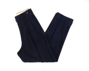 Vintage 50s Ladies Navy Blue Pleat Front Wool Slacks 28 x 28