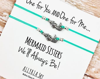 Set of Two Silver Mermaid Friendship Bracelets | Mermaid Jewelry | BFF, Best Friend, Sister Gift Jewelry | Matching Bracelets