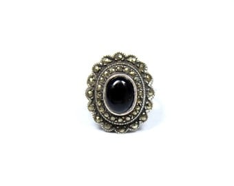 Vintage sterling silver marcasite ring, black onyx ring, large statement ring, black and silver, oval ring, size M 1/2 ring, size 6 1/4 ring