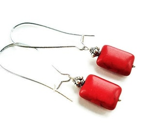 Red Earrings Gemstone Jewelry Turquoise Earrings Everyday Jewelry Long Earrings Red Jewelry Boho Earrings Bridesmaid Gift Silver Earrings