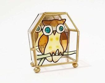 Glass Jewelry Box, Glass Box, Small Jewelry Box, Owl Glass Box
