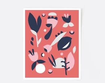 Retro poster, scandinavian print, coral art, mid century modern art, floral print, floral pattern, nursery print, modern art, minimalist art