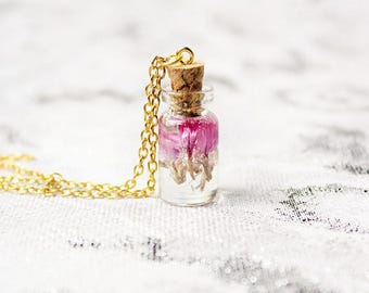 bottle necklace pink flower necklace wish necklace for girl gift tiny necklace daughter gift for women pink necklace lavender jewelry Pю191