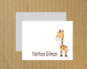 Giraffe Stationery, Set of 10, Giraffe, Kids Thank You Cards, Baby Thank You Cards, Personalized Stationery, Thank You Cards, Giraffe Cards