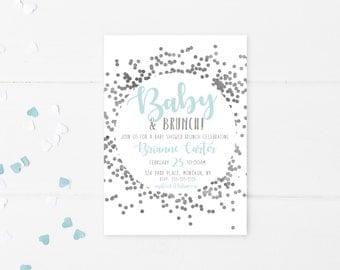 Baby Shower Invitation, Baby Shower Brunch, Brunch, Confetti, Silver, Blue, Baby Boy, Baby Shower Invitation Boy, Baby Shower, Brunch [584]