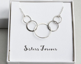 Five Sisters Necklace, Five Circles Necklace, 5 Rings Necklace, Sisters Necklace, Sterling Silver Ring Necklace, Sisters Forever Necklace