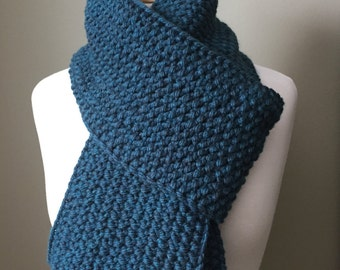 Teal chunky knit scarf