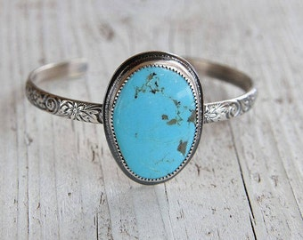 Light Blue Turquoise Cuff, Sterling Silver Floral Bracelet, Pilot Mountain, Boho Jewelry, Silversmith, Metalsmith