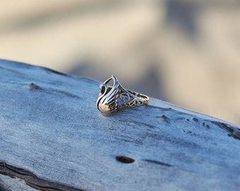 Swan Ring, Fine Swan Ring, Fine Women's Ring, Unique Ring for Women, Ring for Girl, Bird Ring, Fine Animal Ring, Animal Jewelry,Gift for Her
