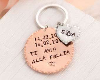 anniversary keychain as husband wife wedding date keychain as gps coordinates gift - mothers day keychain with our first date & 2initials