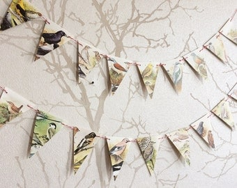 SALE: Vintage paper bunting with birds | scientific bird illustrations | small/mini
