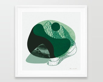 Limited edition prints, abstract art, abstract print, contemporary art, modern print, square prints, monochrome, green, monochromatic art