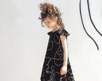 Girls Black Printed Dress, Toddlers Girls Spring Dress, Hipster Girls Dress,  Black Cotton Dress, Black Summer Dress - By PetitWild
