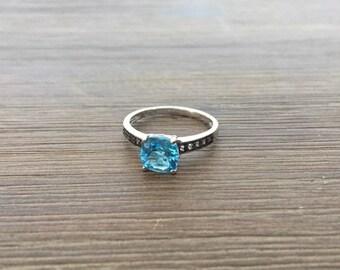 Topaz Ring; 18k White Gold Blue Topaz Ring; Blue Topaz Ring; Sterling Silver Ring; Size 7 Ring; 18k White Gold Ring
