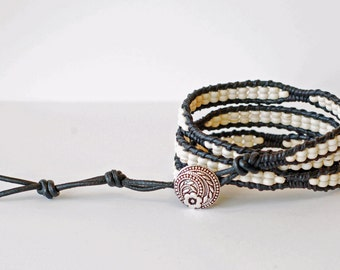 Black and White Wrap Bracelet, Leather Wrap Bracelet, Triple Wrap, Beaded Wrap