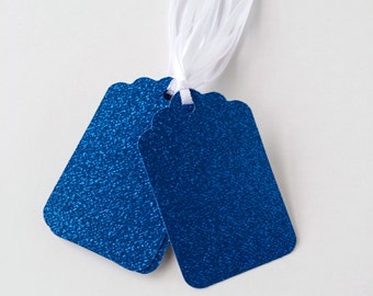 Gift/Favor Tags - Set of 12- Royal Blue Glitter Tags - Ready to ship
