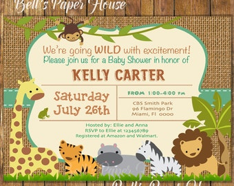 Digital File or Printed,Safari Baby Shower Invitation,Burlap Animal,Jungle Baby Shower Invitation,Jungle Theme Baby Shower Boy,Free Shipping