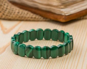 Malachite bracelet beaded bracelet for woman genuine malachite semiprecious stone healing bracelet expandable bracelet september bracelets
