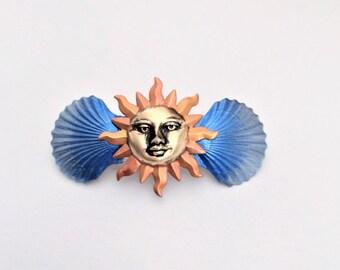 French Barrette Sun, Sun Hair clip, Sun Hair Barrette, Boho Hair Barrette, Celestial hair Jewelry, Sun Hair Jewelry