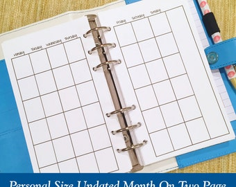 UNDATED Personal Size Month on Two Page Planner Inserts