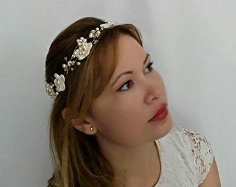 Gold Bridal Headband, Gold Wedding Headband, Gold Bridal Head Piece, Gold Wedding Head Piece, Gold Wedding Headpiece, Gold Head Piece