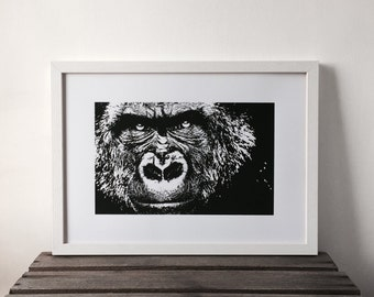 Gorilla Print, Black and White Print, Orangutan, Monkey, A3 Print, Animal Print, Wildlife Print, Screen Print, Gift Idea, Print, Nursery