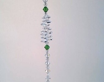 "Prosperity 30 mm Crystal Ball Suncatcher, Swarovski Crystal, Window Crystal, Hanging Crystal, Feng Shui, Prism, Rainbow, ""Prosperity"""