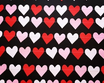 Red, White & Light Pink Love Heart Paper Garland