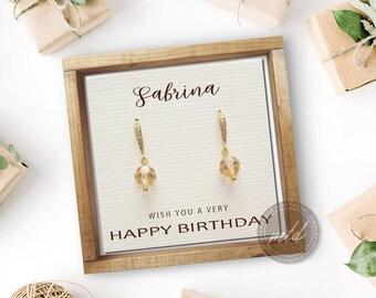 Personalized birthday gift, Dainty earrings, Swarovski crystal earrings, Beaded earrings, Simple earrings, Light peach earrings, Sweet 16
