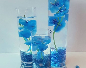Wedding Centerpiece, Floating Candle Centerpiece with Blue Orchids and LED lights, Blue Wedding Decor, Bridal Shower Birthday Party Decor