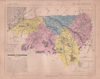 french vintage. Detailed map of the Department of PYRÉNÉES bass. 1880 colors. Beautiful details. France.