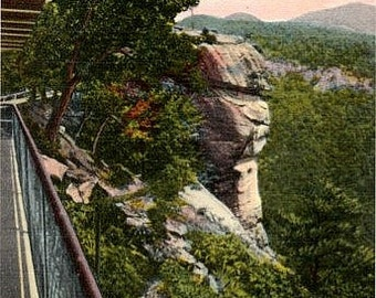 Vintage North Carolina Postcard - Chimney Rock from the Sky Lounge (Unused)