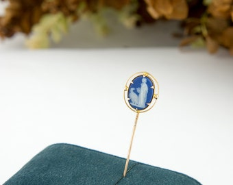 Antique Stickpin 10k Gold Antique Wedgwood Jasperware Victorian Stickpin