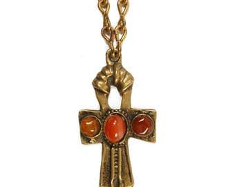 Vintage 70s ANKH Pendant Necklace - Brass + Gemstone - MYSTICAL Jewelry - Cross Necklace - Ethnic - Red CARNELIAN - Thick Heavy Brass Chain