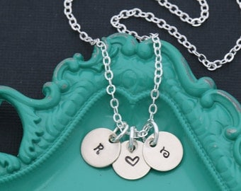 Initial Necklace Letter Handstamped Initial Charm • Personalized Tiny Initial Silver Minimal Necklace • Dainty Initial Small Tag