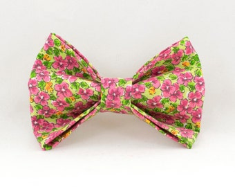 Pink Flowers Dog Bowtie, Floral Bowtie for Dogs, Girl Dog Bowtie, Velcro Bowtie for Dogs, Cute Dog Bowtie