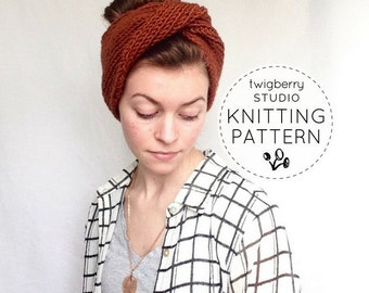 Knitting Pattern // Double-Knit Twisted Turban Headband