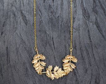 Gold Leaf Necklace, Gold Plated Necklace, Nature Necklace, Gold Chain Necklace, Bridal Jewellery, Wedding Accessories, Gift For Women